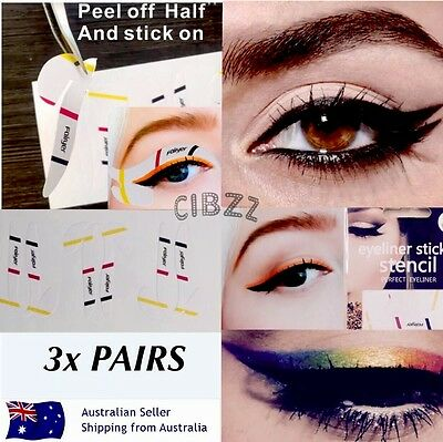 Cat Eyeliner Stencil Stickers Hands Free Smokey Winged Eye Makeup 3x PAIRS