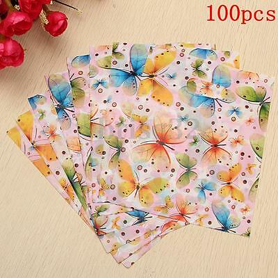 100Pcs Multicolor Butterfly Circle Pattern Plastic Shopping Carrier Gift Bags