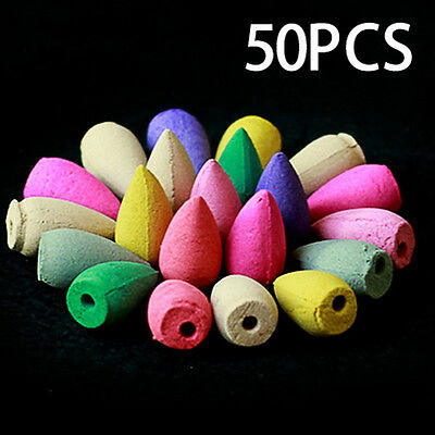 50Pcs Natural Backflow Tower Incense Fragrant Reflux Aromatherapy Cones Braw