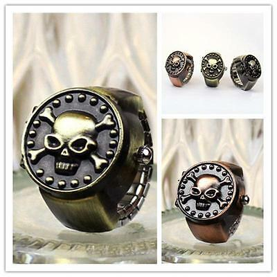 Vintage Bronze Unisex Retro Skull Finger Ring Quartz Dial Watch Antique Gift WR