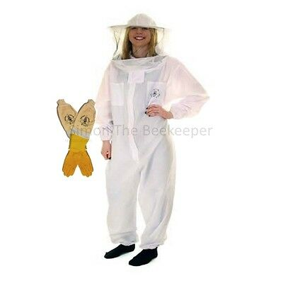 Beekeeping Round Veil White Bee Suit & Ventilated Gloves-Buzz Basic
