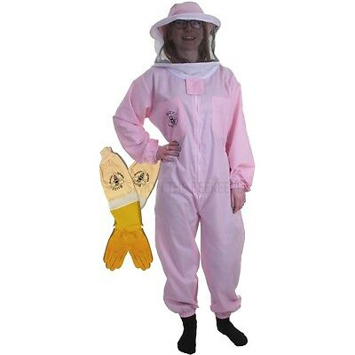 Beekeeping Pink Round Veil Bee Suit & Ventilated Gloves-Buzz Basic
