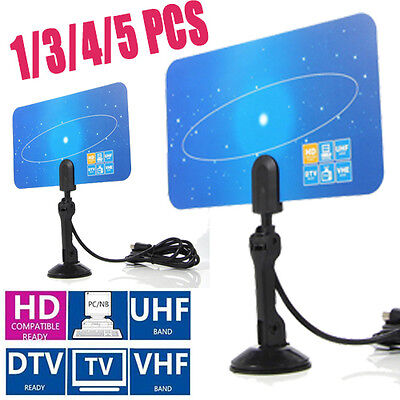 1/3/5x Digital Indoor HD TV HDTV DTV VHF UHF PC NB Flat High Gain Antenna 1080 G