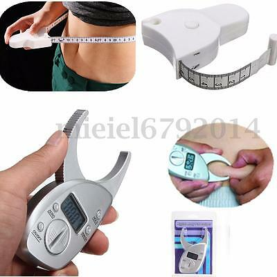Digital Body Fat Calipers & Tape Measure Diet Fitness Health Weight Loss Tester