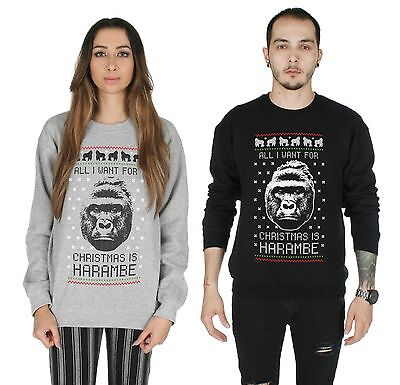 Christmas Harambe Jumper Sweater Top Ugly Xmas Funny Tumblr Gift Elf RIP