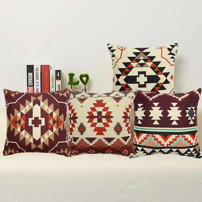Aztec Geometric Abstract Linen Cotton Cushion Cover Throw Pillow Case Home Decor