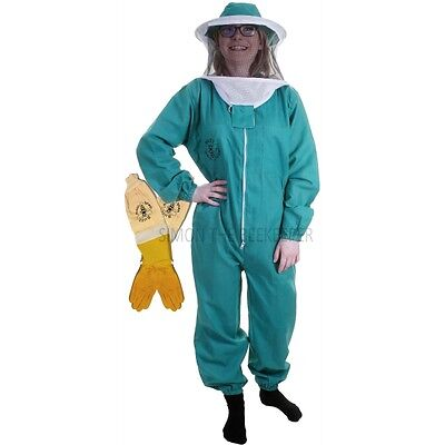 BUZZ BASIC Beekeepers Beekeeping Suit with Round Veil & Ventilated Gloves- Green