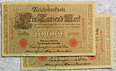 1910 German ONE THOUSAND REICHSMARK BANK NOTES x 2  - CONSECUTIVE PAIR - aUNC