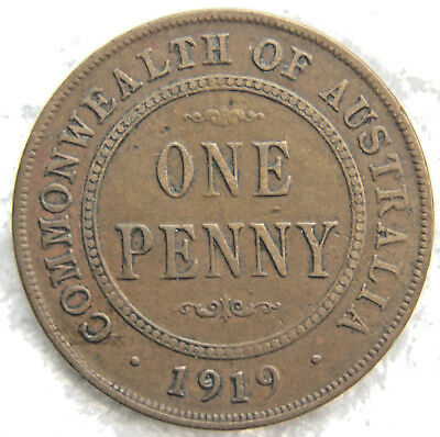 1919 (dot below)  AUSTRALIAN PENNY -  Circulated  KGV  Coin, Great Investment