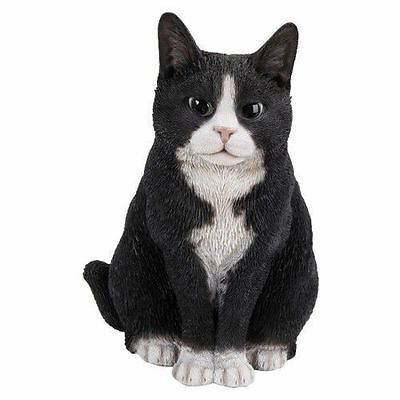 Brand New Sitting Black & White Cat Garden Ornament