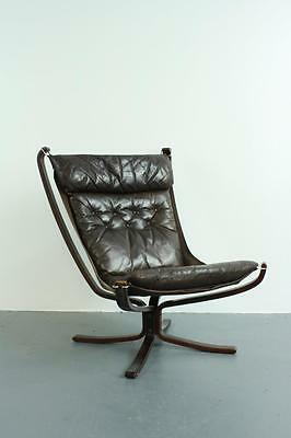 Vintage Brown Leather Falcon Chair By Sigurd Resell Ressell High Back #1842