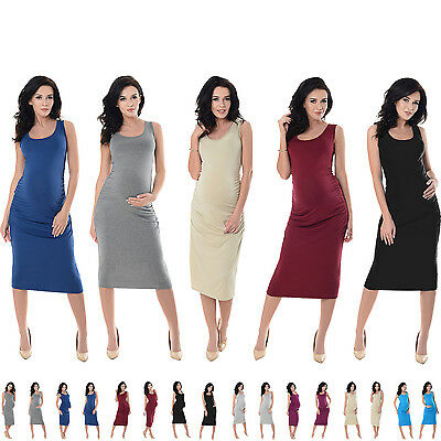Purpless Maternity Sleeveless Jersey Ruched Pregnancy Midi Dress Dresses 8130