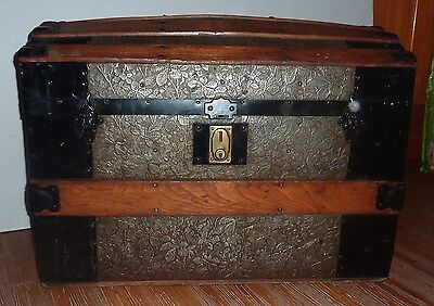 """Antique Dome Top Steamer Trunk 28""""Wide"""