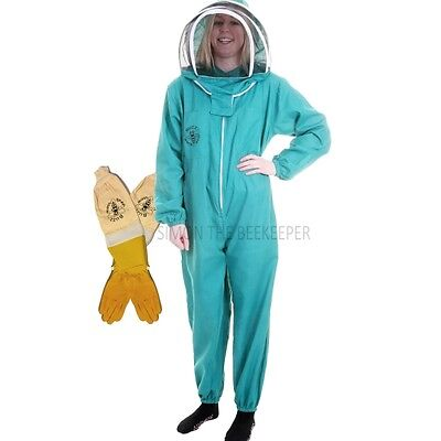 BUZZ BASIC Beekeepers Bee Suit with Fencing Veil And Ventilated Gloves - Green