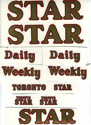 Minnitoy Toronto Star Daily / Weekly Replacement Decal Set