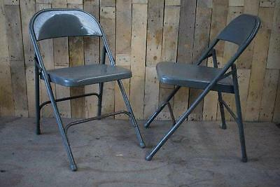 "Retro Vintage Pair Of Metal Folding ""Samsonite"" Industrial Chic Chairs 2"