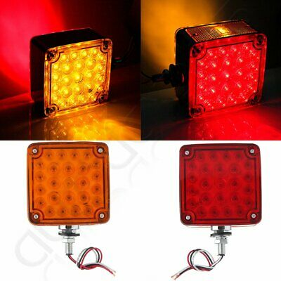 Left,Right Double Face Stud Mount Pedestal Fender Stop Turn Tail Light Amber/Red