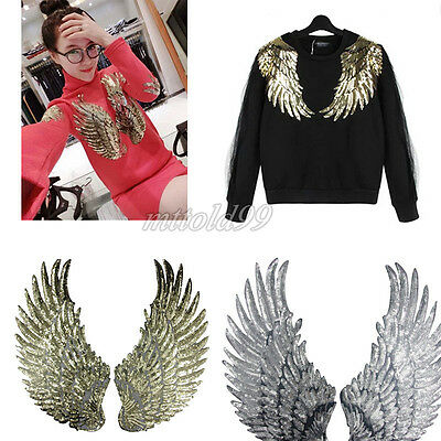 1 Pair Embroidered Sequins Angel Wing Iron Sew Patches Clothing Applique DIY