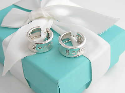 Auth Tiffany & Co Silver 1837 Wide Hoop Earrings Packaging Box Pouch Ribbon
