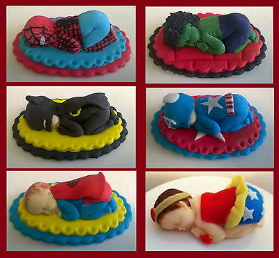 Handmade edible Sleeping baby Marvel Avengers cake topper christening birthday