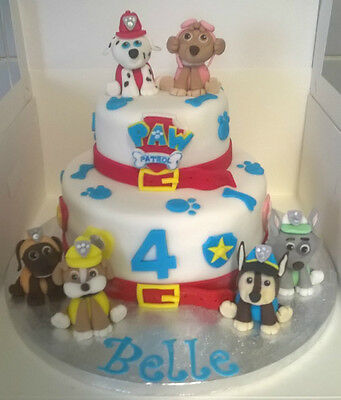 Handmade edible Paw Patrol cake toppers decoration dog figures single or set