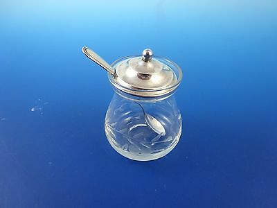 Etched Glass Mustard Jar with Sterling Silver Lid & Spoon by Webster (2936)