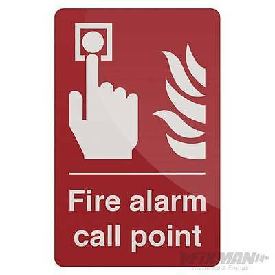 2 x Red Self Adhesive label Fire Alarm Do Not Switch Off 80mm x 35mm