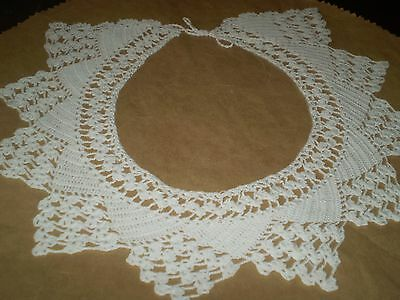 Vintage-Hand-Knitted-Cotton-Crochet-WHITE-Lace-Collar