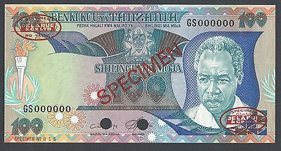 Tanzania 100 Shillings ND 1986 P14as Specimen TDLR Uncirculated
