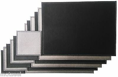 6 x Faux Leather Placemats With Matching Coasters - Reversible Silver & Black