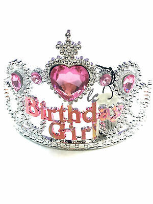 Girls Heart Tiara Crown Birthday Girl Pink Silver Plastic Fancy Dress Partys