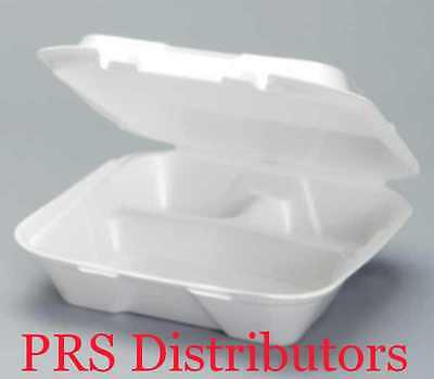 """9""""x9"""" Foam Hinged Lid 3-Compartment Deli Sandwich Take-out Food Container 50 Pcs"""