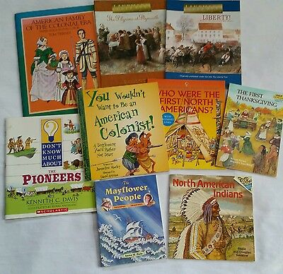 Lot of 9 Early American Pilgrim Colonists North Americans Unit Study Books