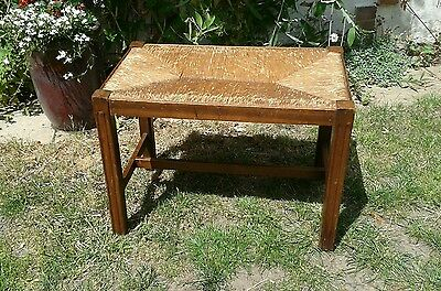 Vintage rush covered seat/stool, oak