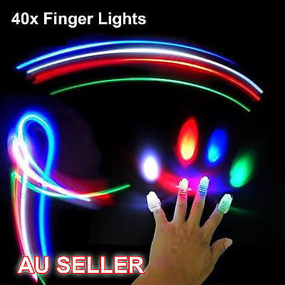 40X Led Flashing Finger Beams (10packs) Torch Ring Kids Dancing Party Glow Party