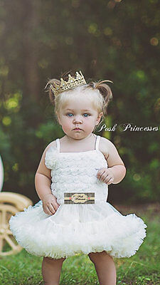 Newborn Light Gold Lace Princess Crown, Baby Photo Prop, Gold Birthday Crown