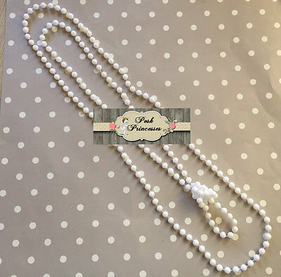 """Pearl Necklace, White Plastic Pearl Necklace, 30"""" Pearl Necklace, Baby Necklace"""