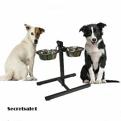 Double Stainless Steel Pet Dog Food Water Bowls with Adjustable Height Stand Uk