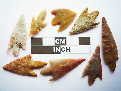 Neolithic Arrowheads, 8 x Quality Barbed and Tanged Artifacts - 4000BC - (S028)