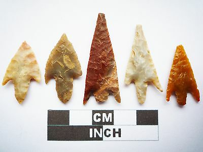Neolithic Arrowheads, 5 x Quality Barbed and Tanged Artifacts - 4000BC - (S024)