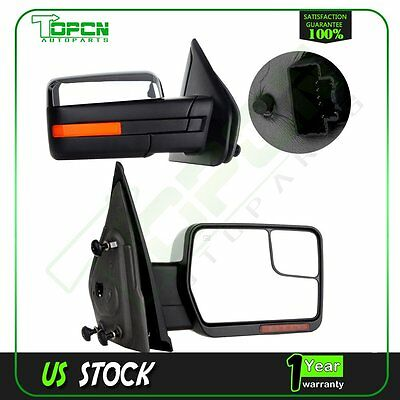 Chrome Power Heated Side View Mirrors Signal Light For Ford F150 Towing Pair Set