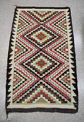 "Colorful Antique c1920s Navajo Rug: Teec / Red Mesa Outline 32"" x 56 1/2"""