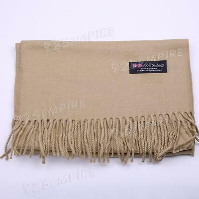 Men's 100% CASHMERE Warm PLAIN Scarf pure solid Camel Wool MADE IN SCOTLAND