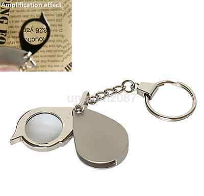 8X Small Antique Metal Magnifier Magnifying Eye Glass Lens Keychain New