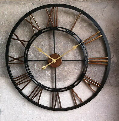 Large Wall Clock 70cm Metal Industrial Iron Vintage French Provincial KALI