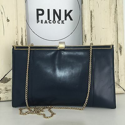 VINTAGE Navy Blue GENUINE Leather Clutch Handbag GOLD CHAIN Strap AWESOME