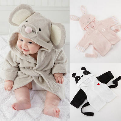 New Baby Kids Boy Night Bath hooded Sleepwea Cosplay Animal Costume Pajamas