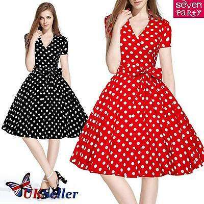 Womens Vintage Style 1950s 60s Dress Rockabilly Retro Casual Party Swing Skater