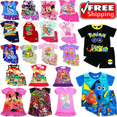 New Sz 1-16 Kids Summer Pyjamas Boys Girls Top Tshirt Pj Pjs Sleepwear Nightie