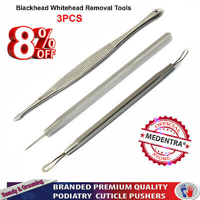 Whitehead Removal Pimple Extraction Tools Blackhead Acne Blemish New Facial 3PCS